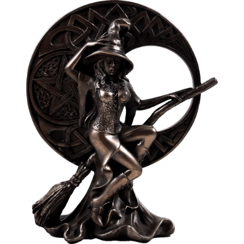 Witch with Celtic Moon Cold Cast Bronze Sculpture